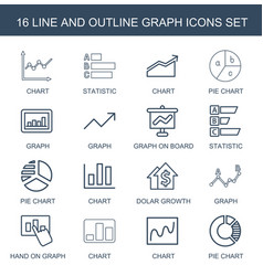 16 graph icons vector image