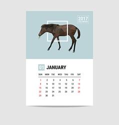 2017 January calendar horse polygon vector
