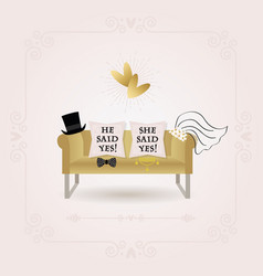 abstract he said yes and she said yes pillows card vector image