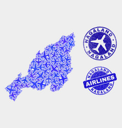 airlines composition nagaland state map and vector image