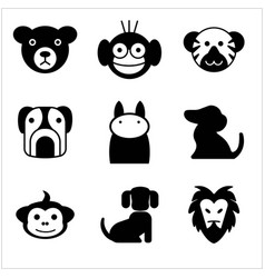 animal pet black icon set simple and trendy flat vector image