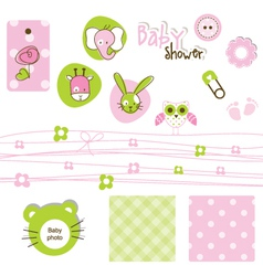 Baby shower design elements vector image
