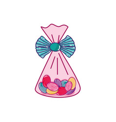 Bag with candy almonds sweet dessert vector