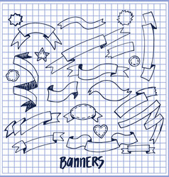 Banners ink pen sketches of blue color hand drawn vector