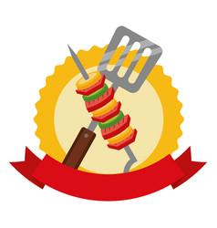 barbecue kebab and spatula emblem vector image