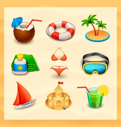 beach icon set-2 vector image