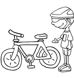 black and white boy and his bicycle vector image