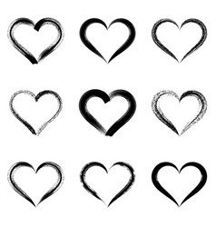 Black brush strokes hearts vector