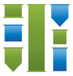 Blue and green banners vector