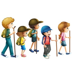 Boys and girls with hiking outfit vector image