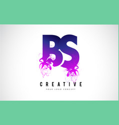 Bs b s purple letter logo design with liquid vector