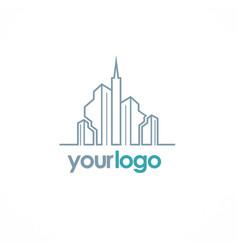 building city line logo vector image