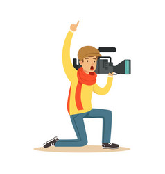 Camera operator ready to recording news video vector