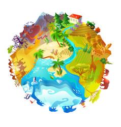 Cartoon earth planet nature concept vector