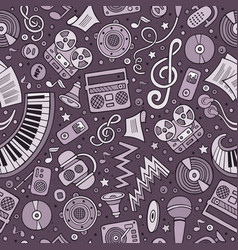 Cartoon hand-drawn musical instruments seamless vector