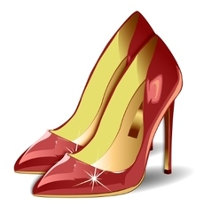 Cartoon red women shoes on white background vector