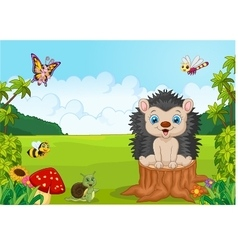 Cartoon sweet hedgehog in the jungle vector image