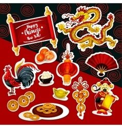 Chinese New Year sticker set with holiday symbols vector