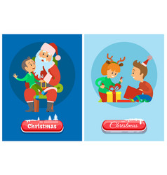 christmas banner button in snow winter holidays vector image