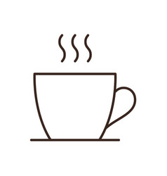 coffee or tea cup isolated linear icon vector image
