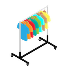 Colorful t-shirt on hanger on clothing wardrobe vector