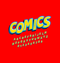 Comics style font alphabet letters and numbers vector