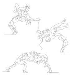 Continuous one line wrestlers set wrestler doing vector