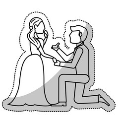 couple wedding proposal romantic outline vector image