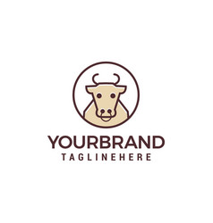 Cow line logo design concept template vector