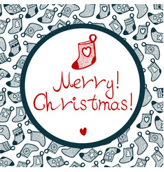 Cristmas stocking with pattern and little heart vector