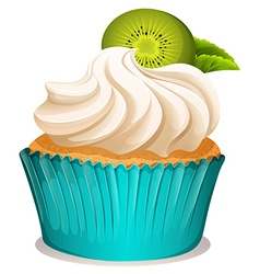Cupcake with cream and kiwi fruit vector