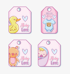 Cute baby tags vector