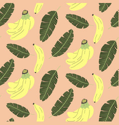 Cute seamless pattern with banana and tropical vector