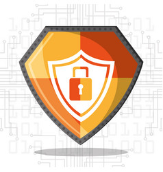 cyber security shield protection padlock data vector image