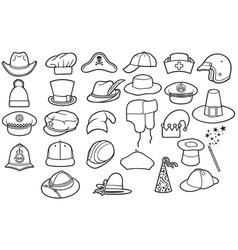 Different types of hats thin line icons set vector