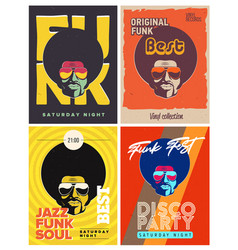 Disco party event flyers set collection of the vector