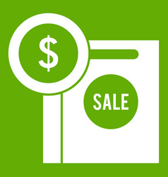 dollar sign and shopping bag for sale icon green vector image