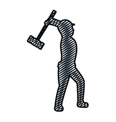 Doodle pictogram laborer with mallet equipment vector