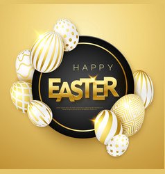 easter gold background with realistic golden vector image