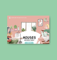 Facebook template design stay at home concept vector
