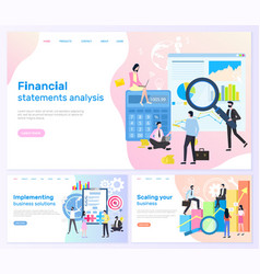 financial statements business solutions banners vector image