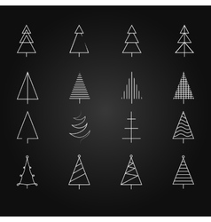 Fir set of 16 different christmas trees vector