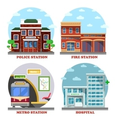 Fire station and hospital building metro police vector image