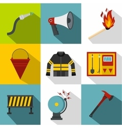 Firefighter icons set flat style vector