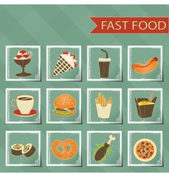 flat design retro style fast food icons set vector image