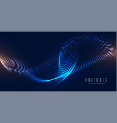 Flowing digital particle abstract wave background vector