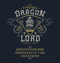 Font dragon lord pop vintage letters numbers vector
