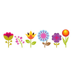 gardening elements flat flowers spring floral vector image