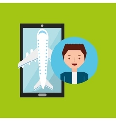 Guy hand holds mobile application travel airport vector