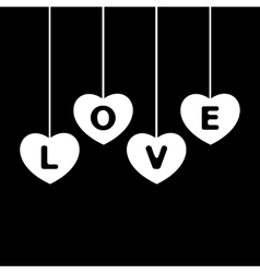 hanging white hearts vector image